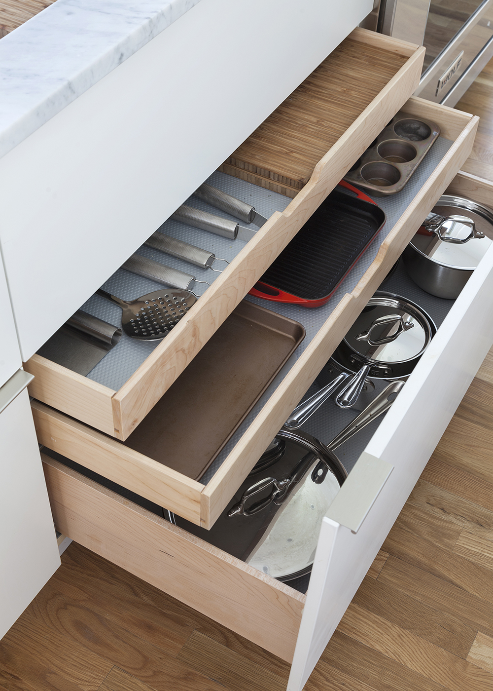Custom kitchen drawers, luxury accessories