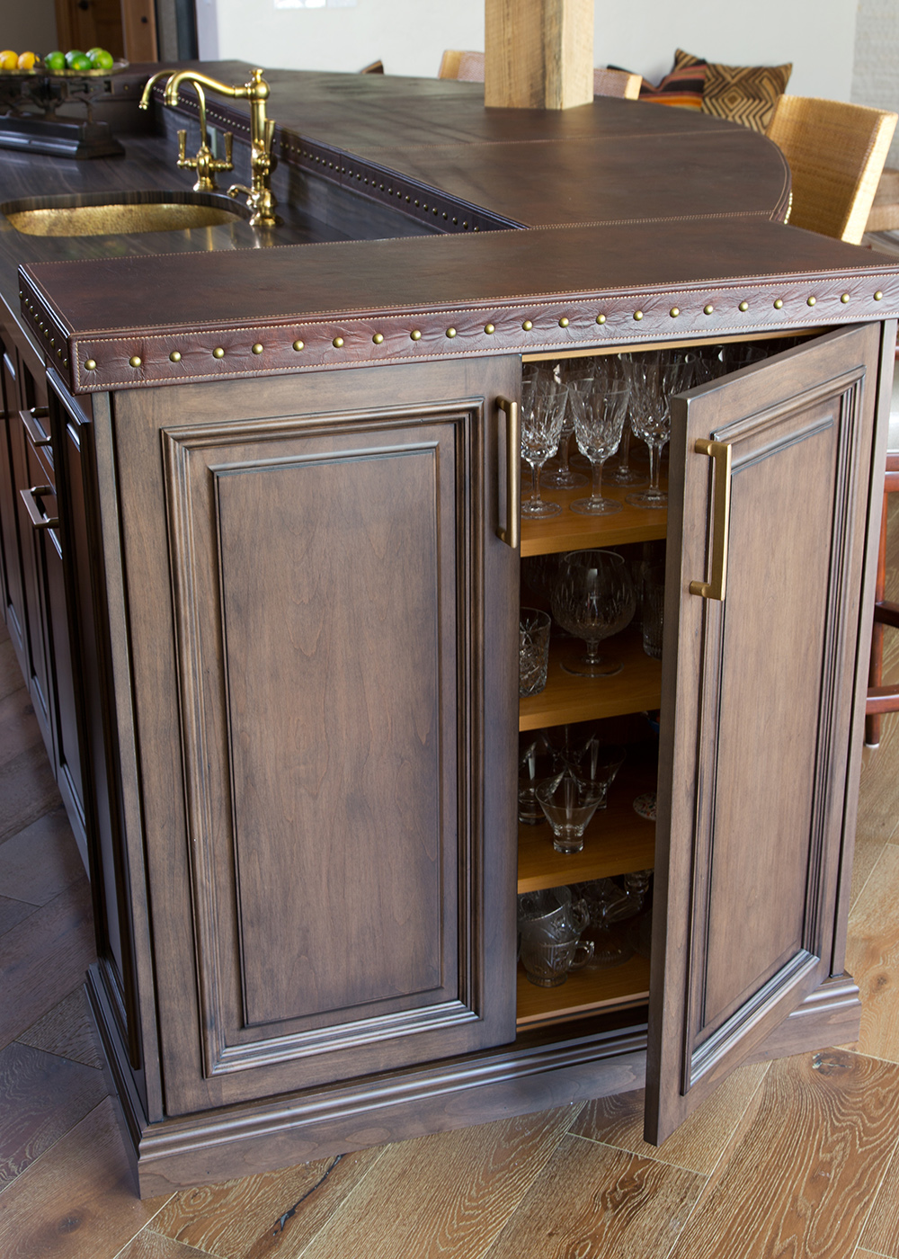 Mahogany island, custom cabinetry