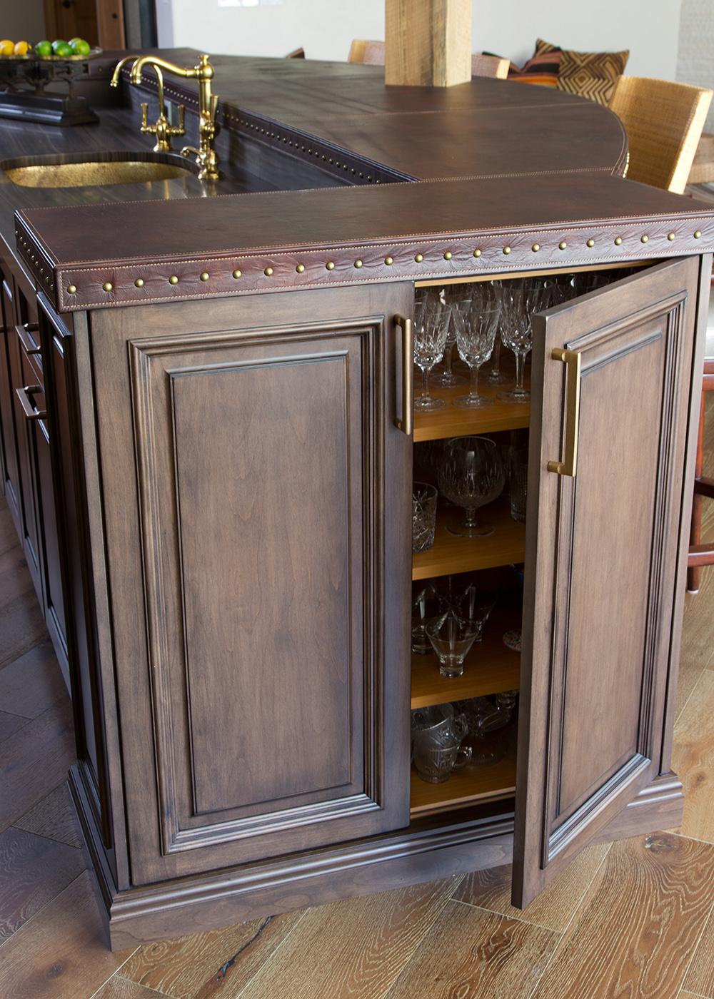 Mahogany island, custom cabinetry
