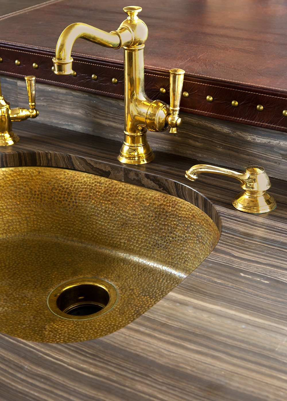 Golden sink, luxury kitchen accessory