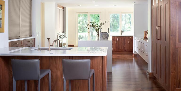 Vertical grain modern kitchen red wood