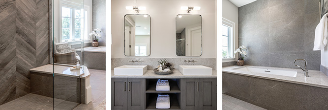 Gallery of high-end bathroom remodels with white and grey accents by William Ohs in Denver