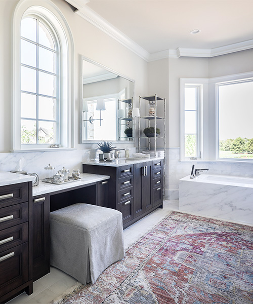 Dark wood custom bathroom cabinets created by William Ohs in Denver