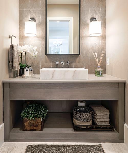 Modern custom bathroom cabinets by William Ohs in Denver