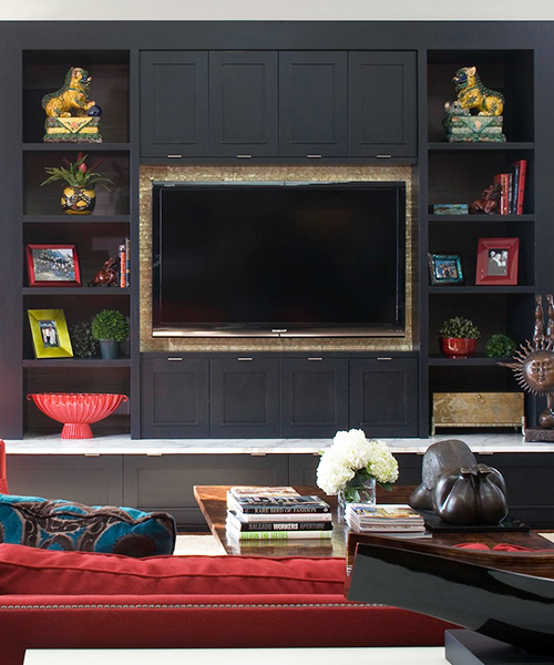 Entertainment center made of custom cabinetry