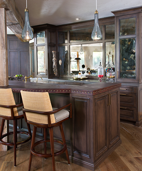 Wooden custom-made cabinets for home wet bar by William Ohs in Denver