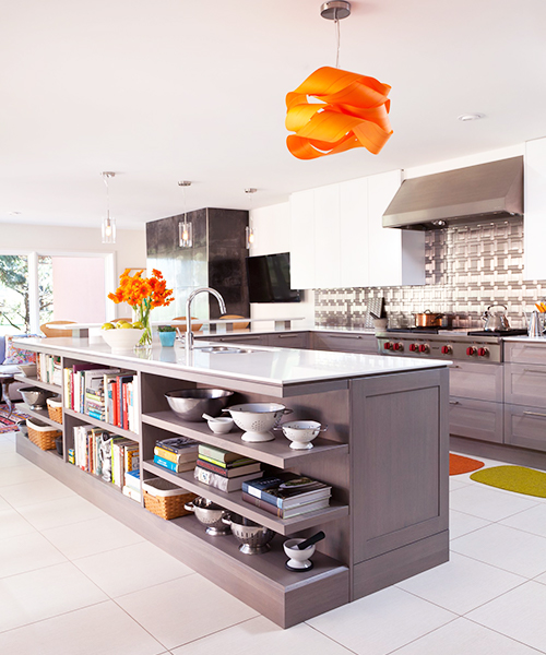 image of kitchen with an orange light