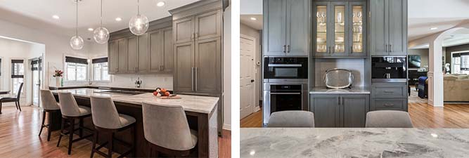 two images of kitchen cabinets